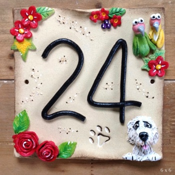 House Address Number with Red Flowers