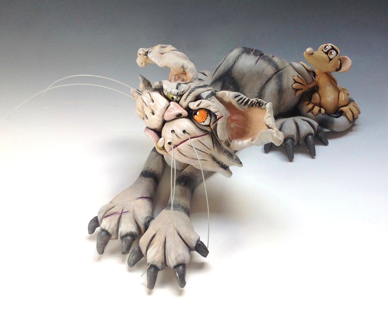 cat sculpture ceramic stoneware