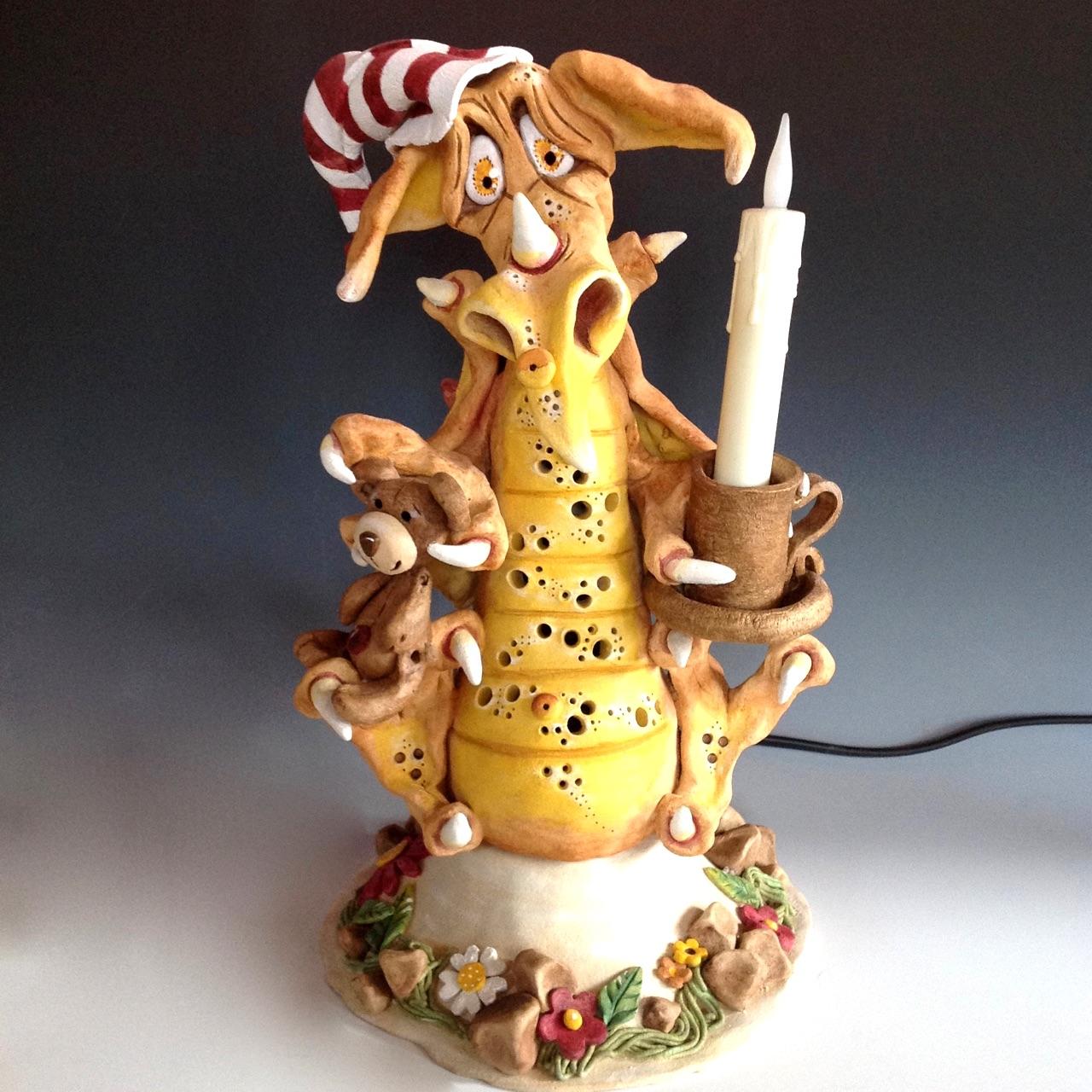 Dragon Lamp sculpture ceramic stoneware