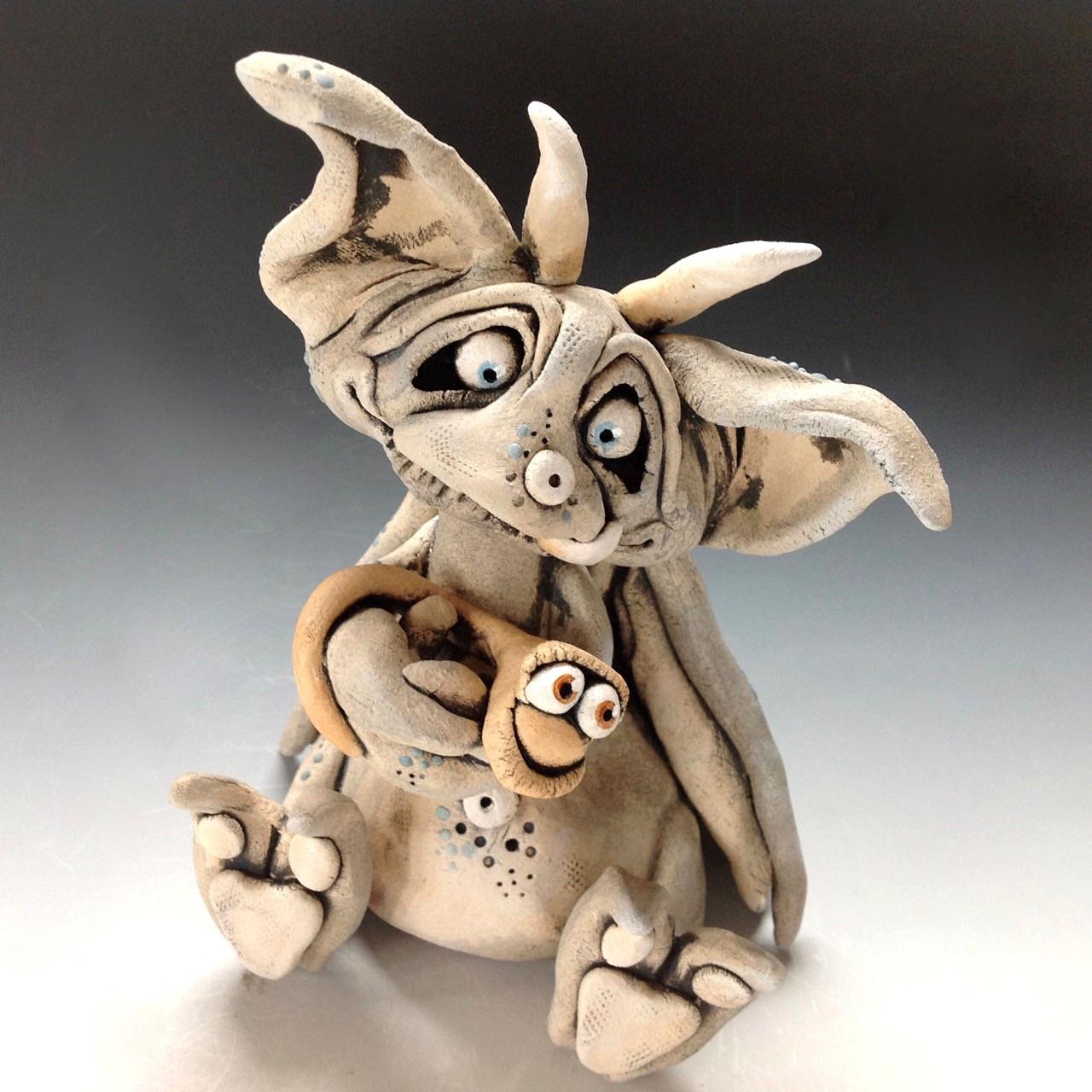 Gargoyle sculpture ceramic stoneware