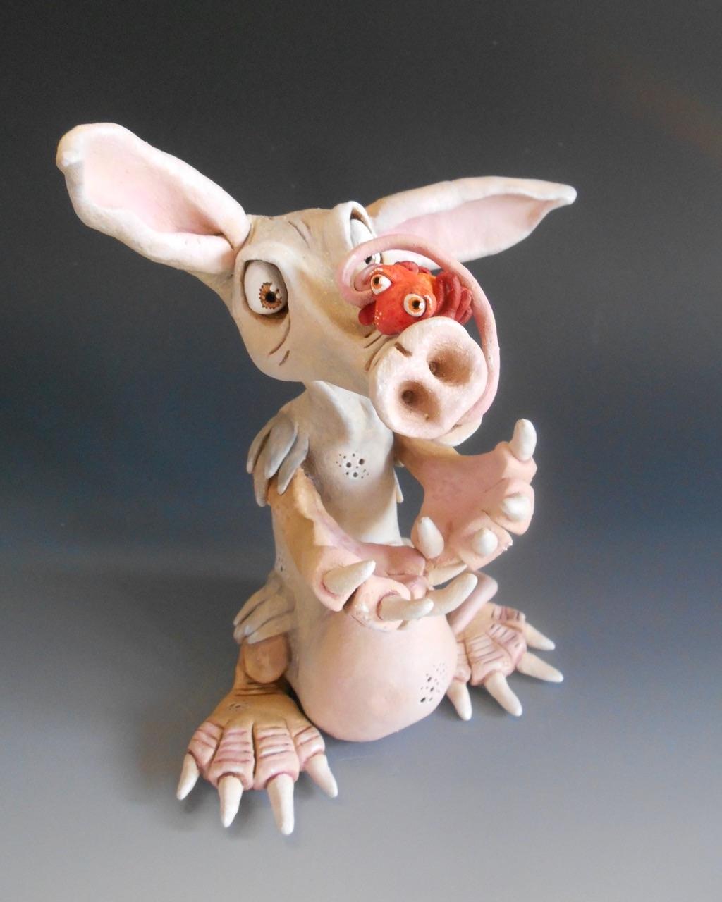 aardvark sculpture ceramic stoneware