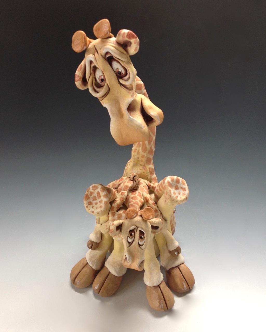 Giraffe and Baby sculpture ceramic stoneware