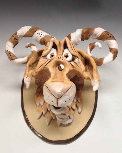 Goat Head Wall Sculpture Ceramic Pottery