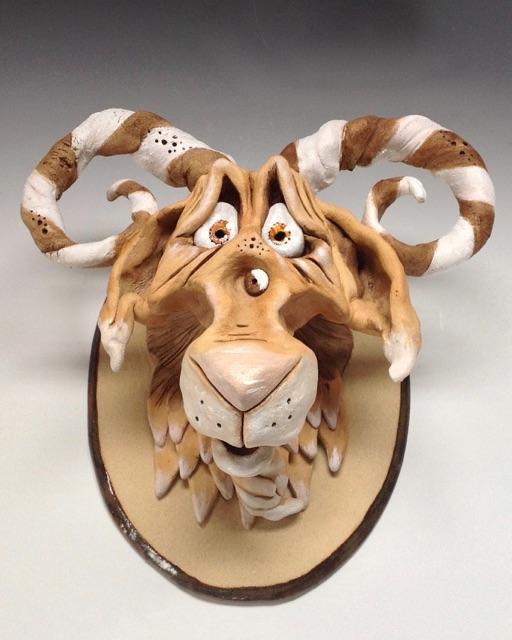 Goat Head sculpture ceramic stoneware