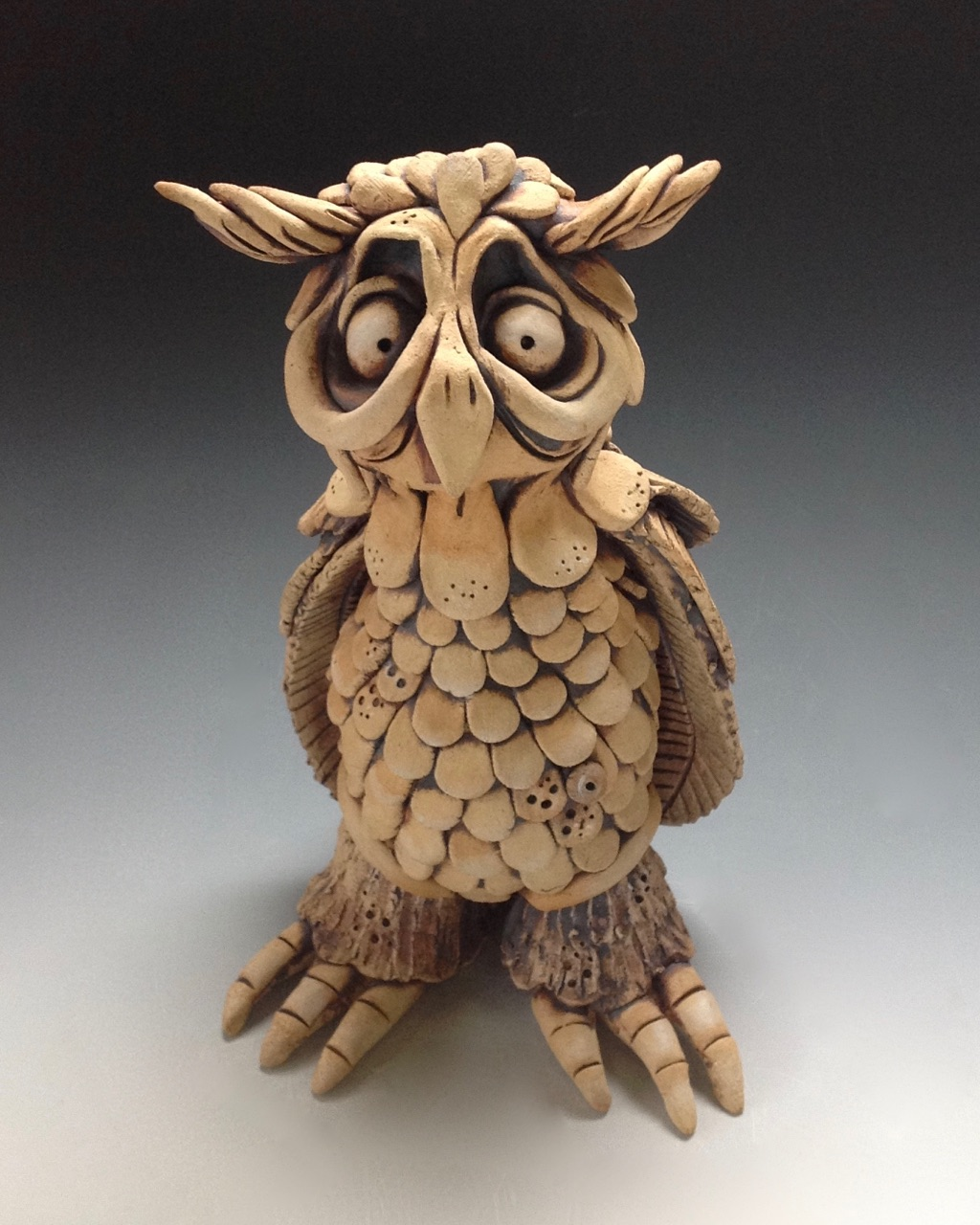 Owl Sculpture Ceramic Pottery