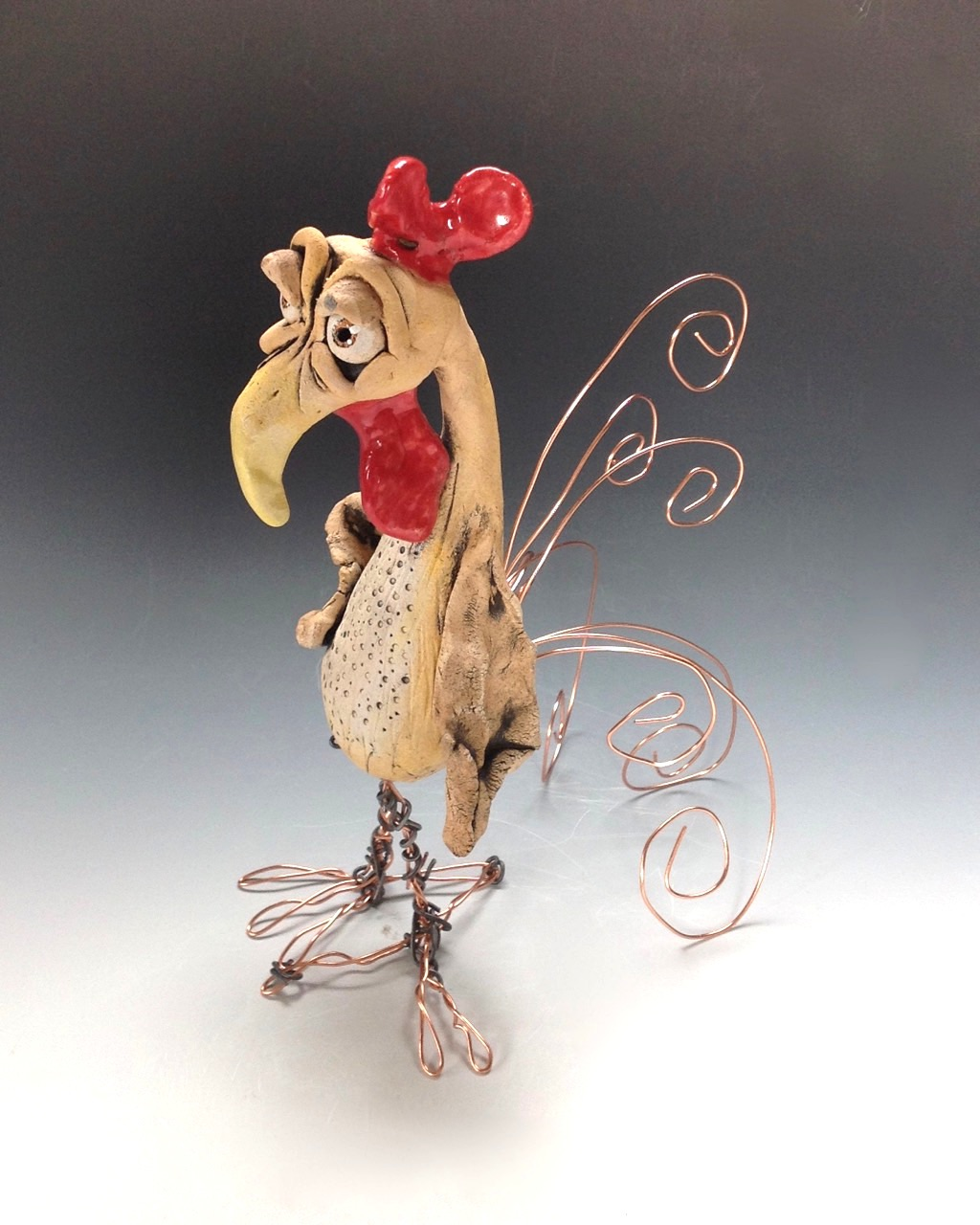 Rooster Sculpture Ceramic Pottery