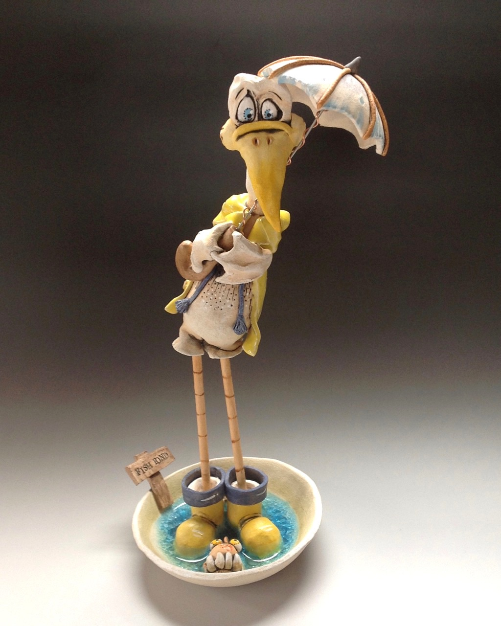 seagull whimsical sculpture ceramic stoneware