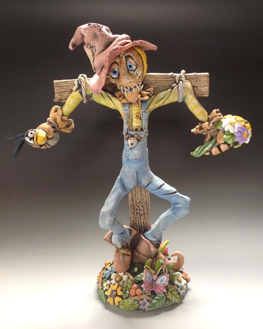 Scarecrow Sculpture Ceramic Pottery