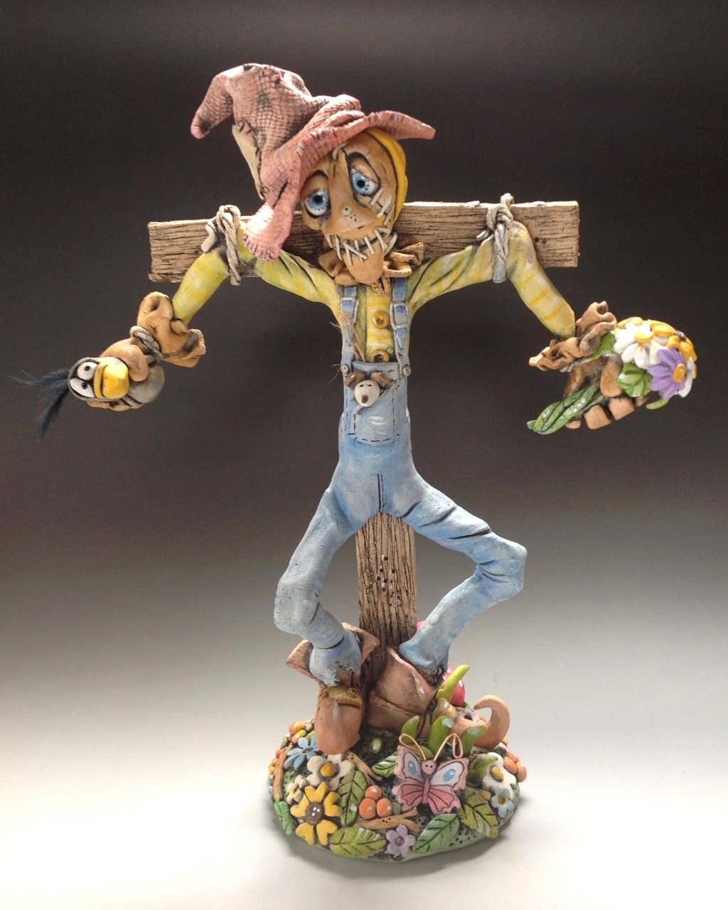 Scarecrow sculpture ceramic stoneware