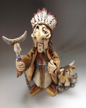 American Indian and Baby Buffalo Sculpture - Ceramic