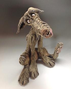 Deerhound Dog Sculpture - Ceramic