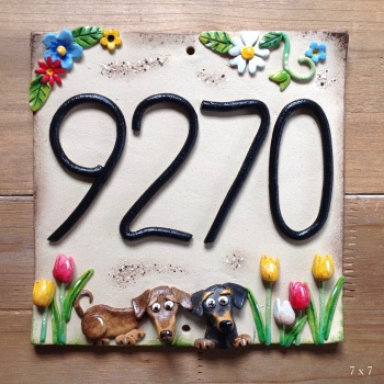 House Address Number with Personalised Pet Design