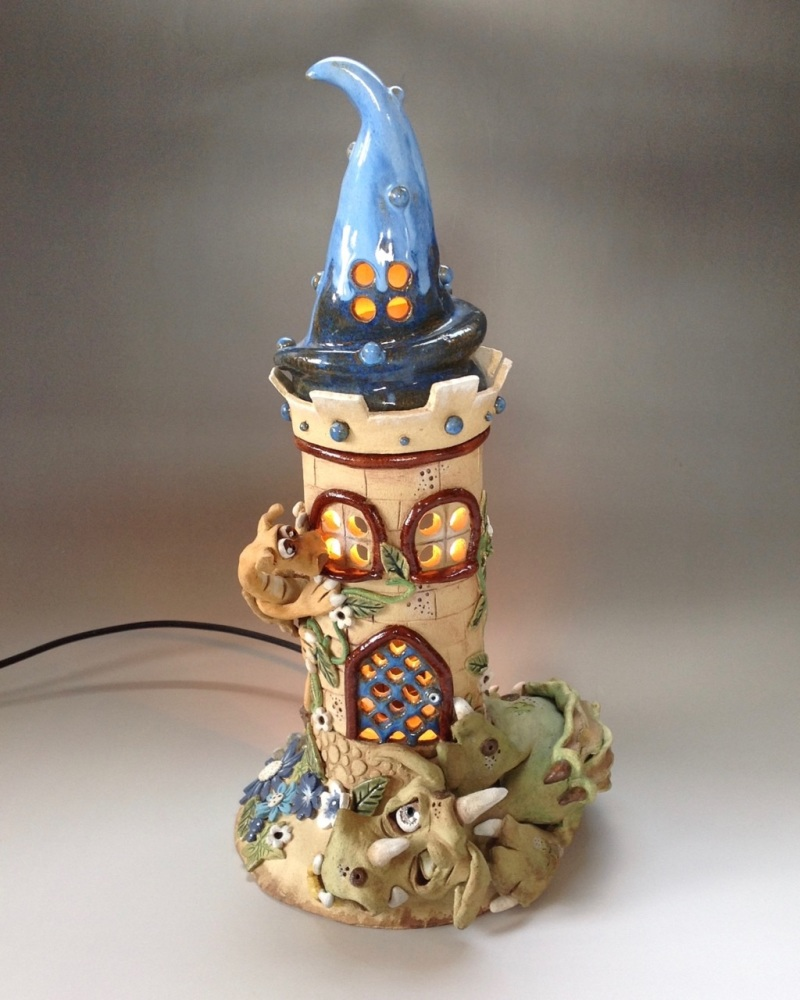 Dragon's Keep Castle Pottery Lamp
