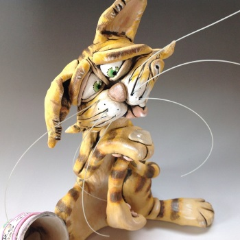 Whimsical Cat Sculpture - Ceramic
