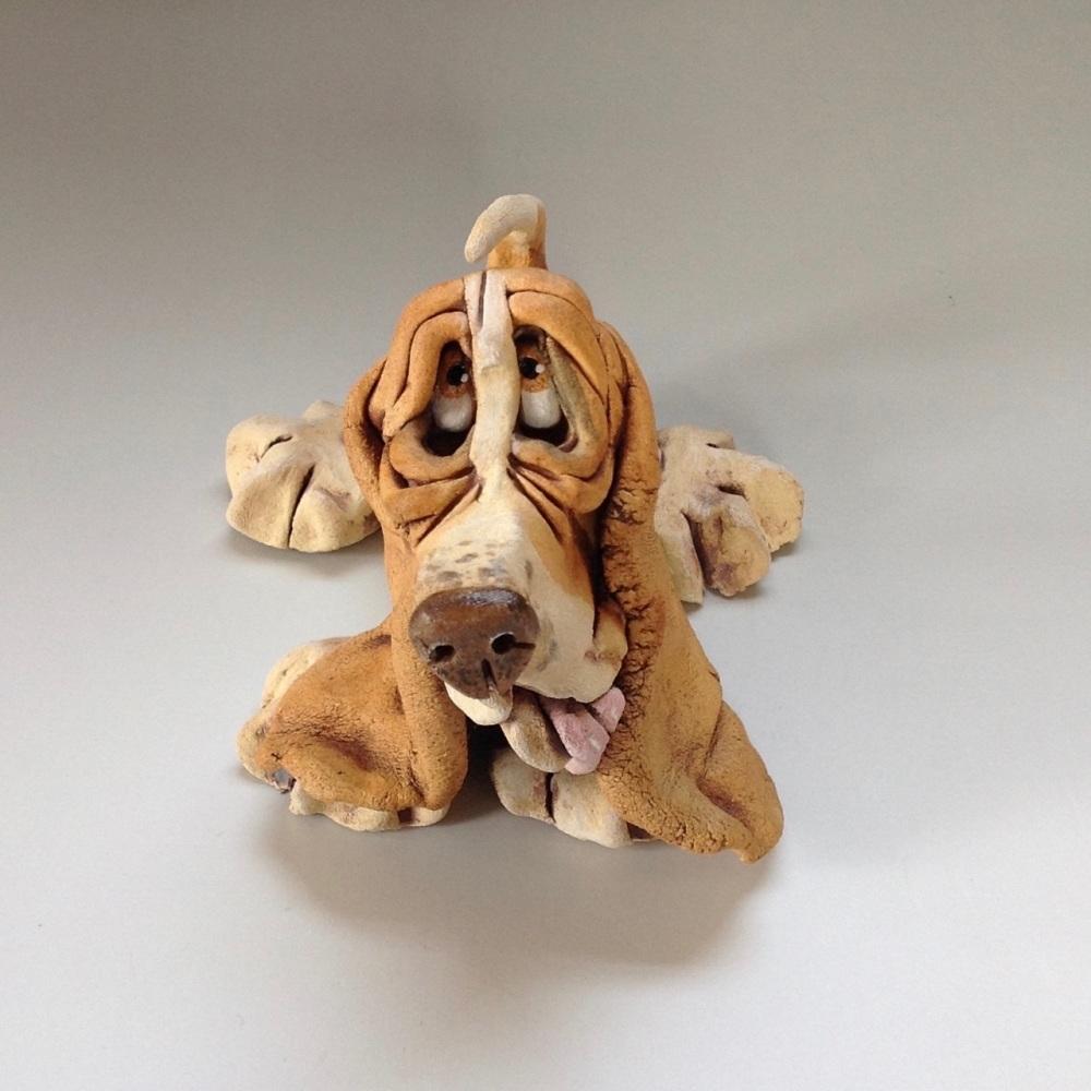 Bassett Hound Dog Sculpture - Ceramic