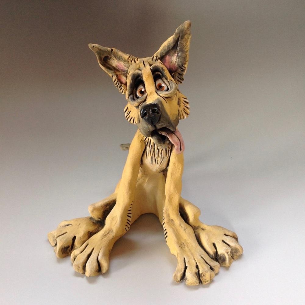 Alsatian German Shepherd Dog Sculpture - Ceramic