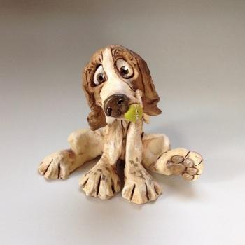 Spaniel Dog Sculpture - Ceramic