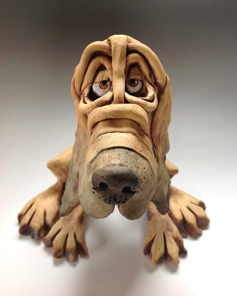Bloodhound Dog Sculpture - Ceramic