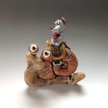 Snail and Mouse Sculpture - Ceramic