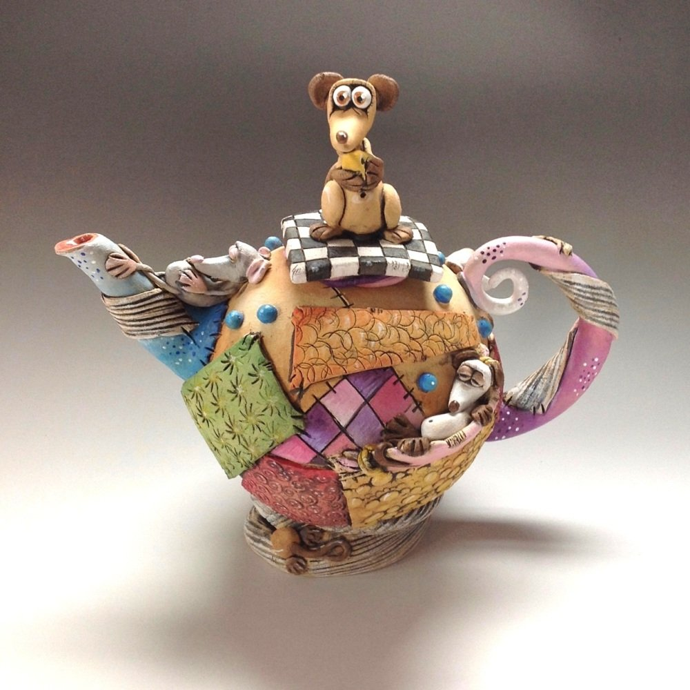 Patchwork Mouse Teapot Ceramic