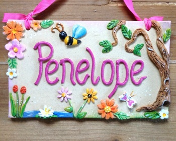 Children's Name Sign - Woodland Flowers