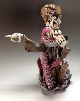 Don't go that way! - Pirate and Kraken Ceramic Sculpture