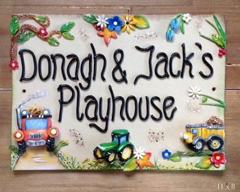 Children's Playhouse Sign - Trucks Design