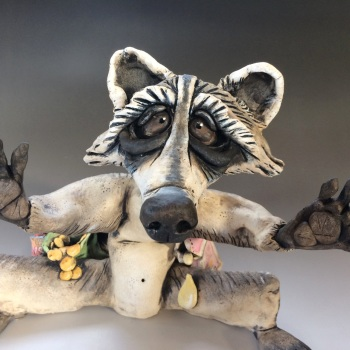 Raccoon Sculpture - Ceramic