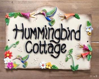House Sign Ceramic - Hummingbirds design