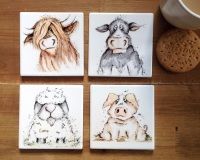 Farmyard Coasters Ceramic