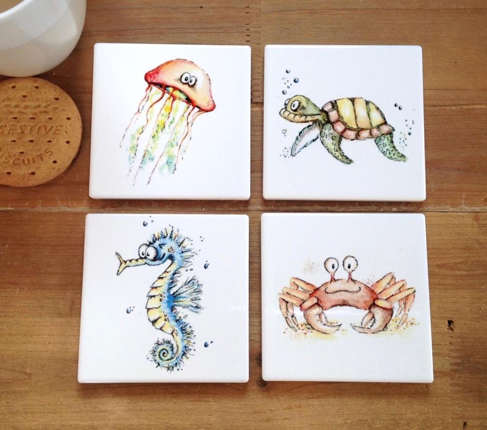 Seaside Animal Coasters Ceramic