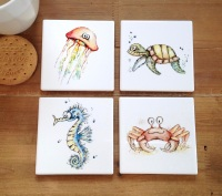 Seaside Animal Coasters Ceramic