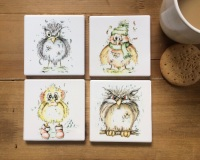 Bird Coasters Ceramic