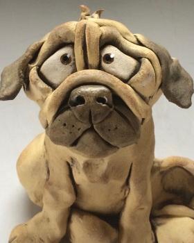 Pug Dog Sculpture - Ceramic