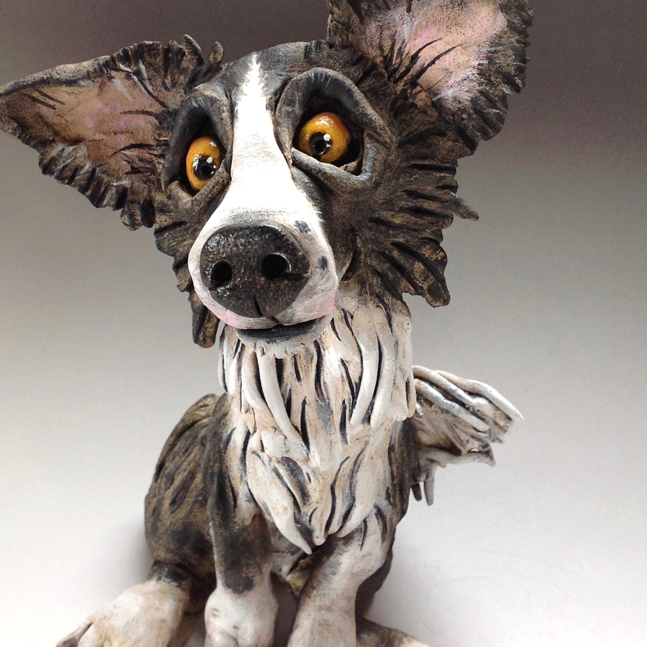 Border Collie Dog Sculpture Ceramic Pottery