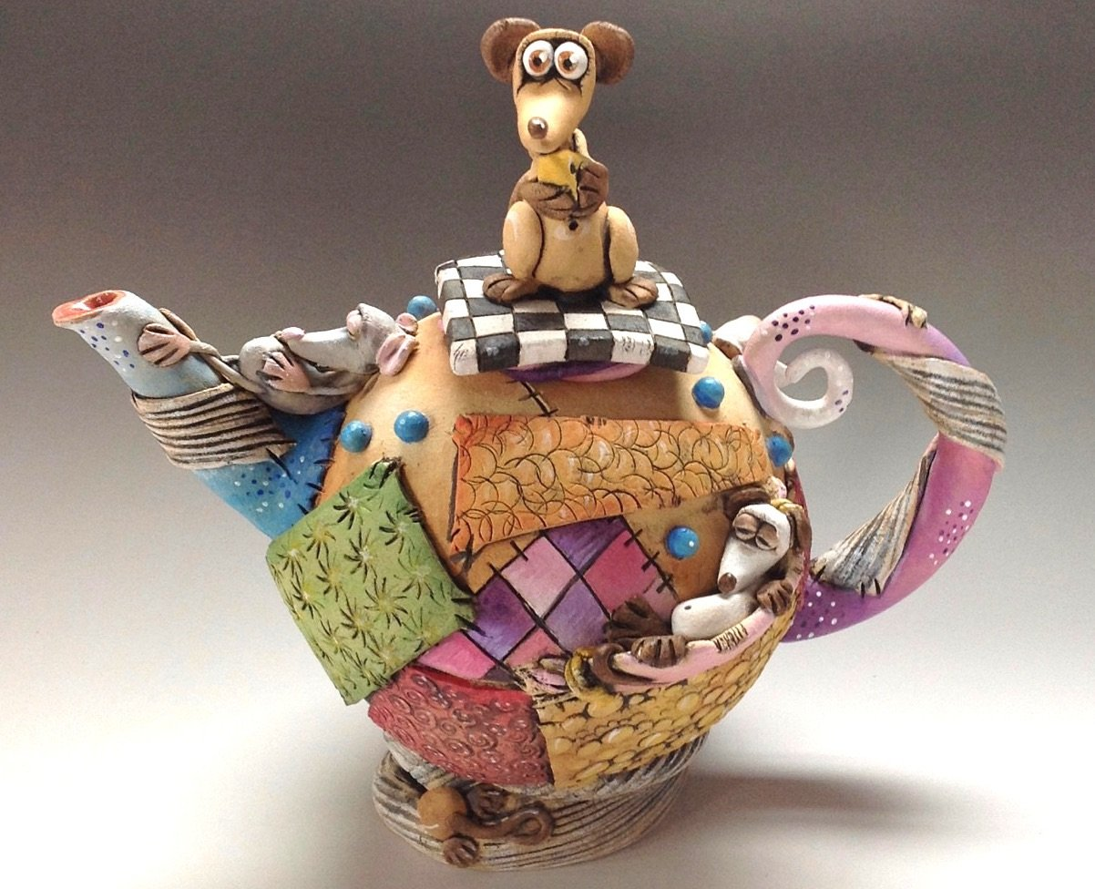 Whimsical Patchwork Tea Pot Ceramic Pottery