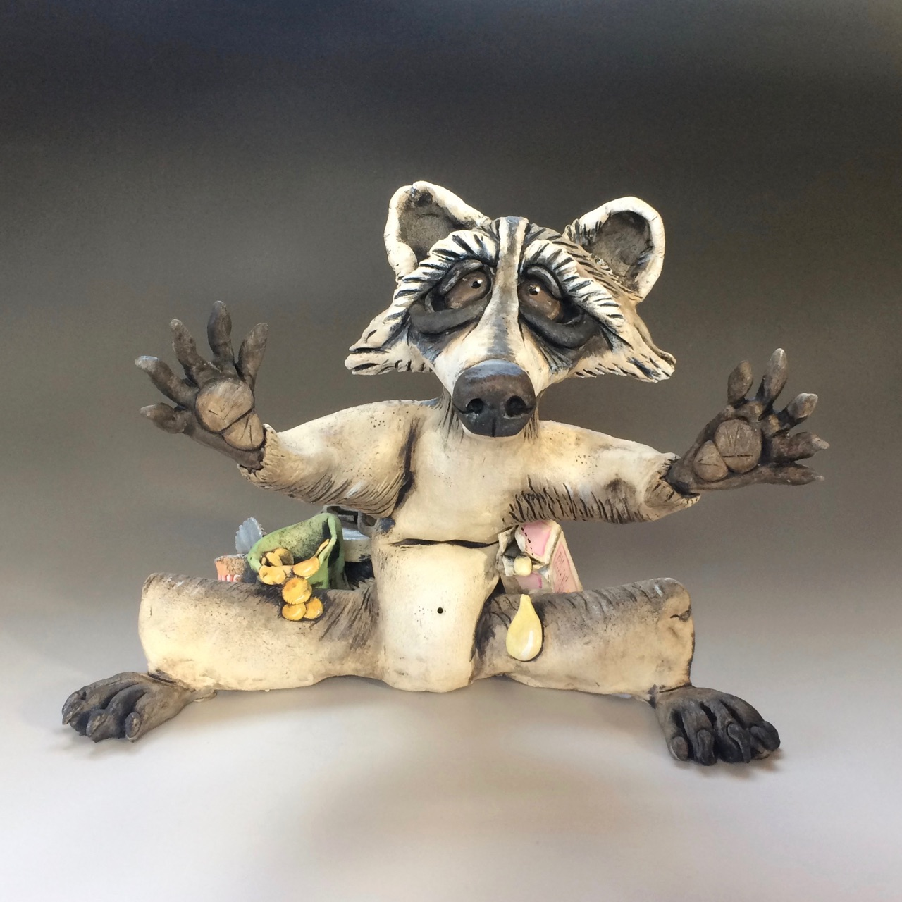 Raccoon Sculpture Ceramic Pottery