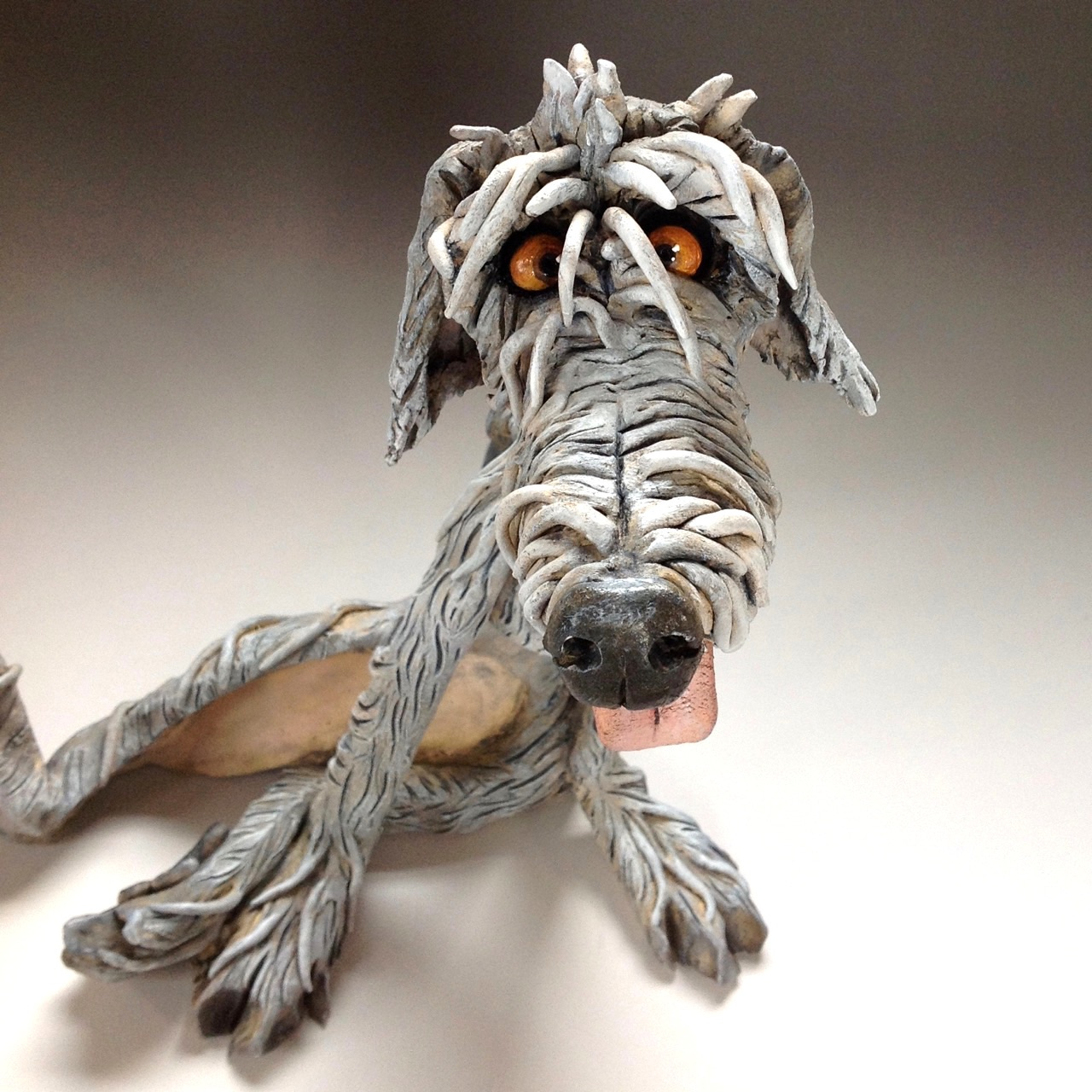 Wolfhound Dog Sculpture Ceramic Pottery