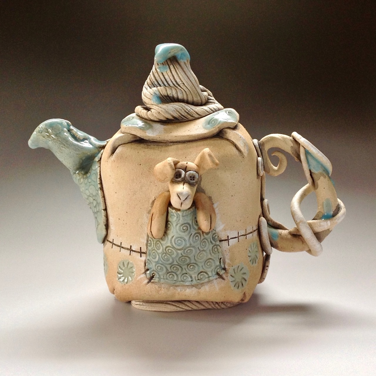 Tea Pot Sculpture Ceramic Pottery
