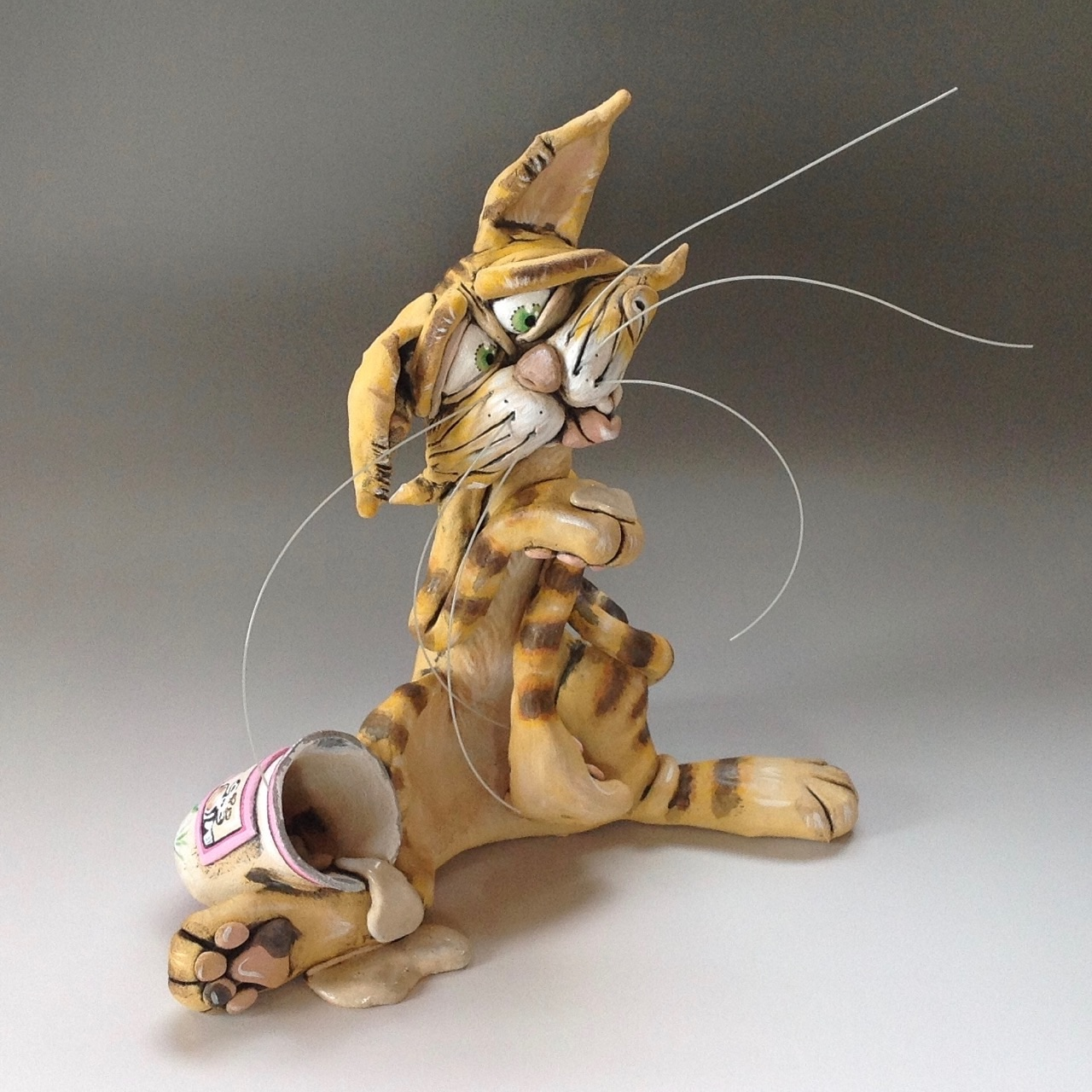 Whimsical Cat Sculpture Ceramic Pottery