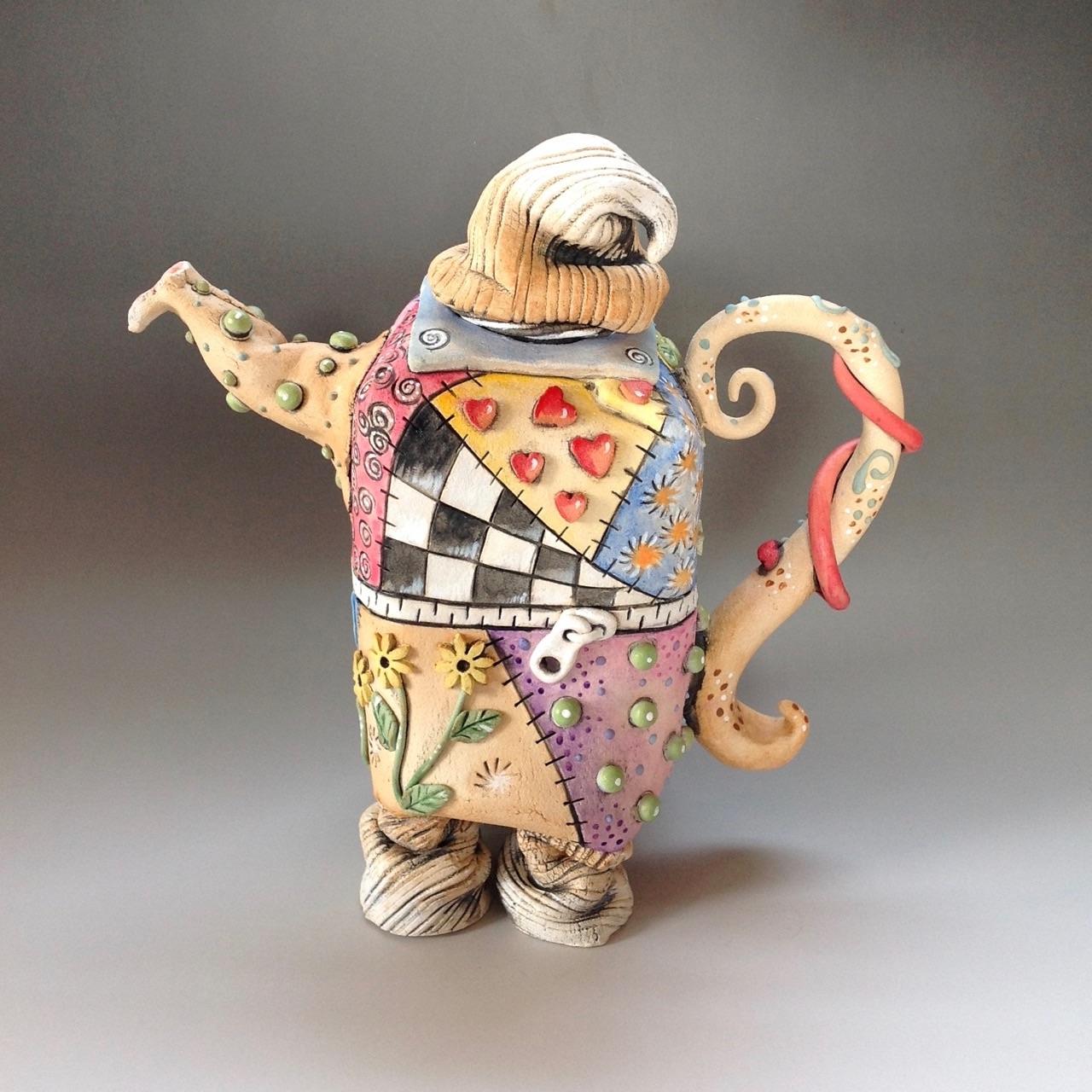 Patchwork Tea Pot Ceramic Pottery