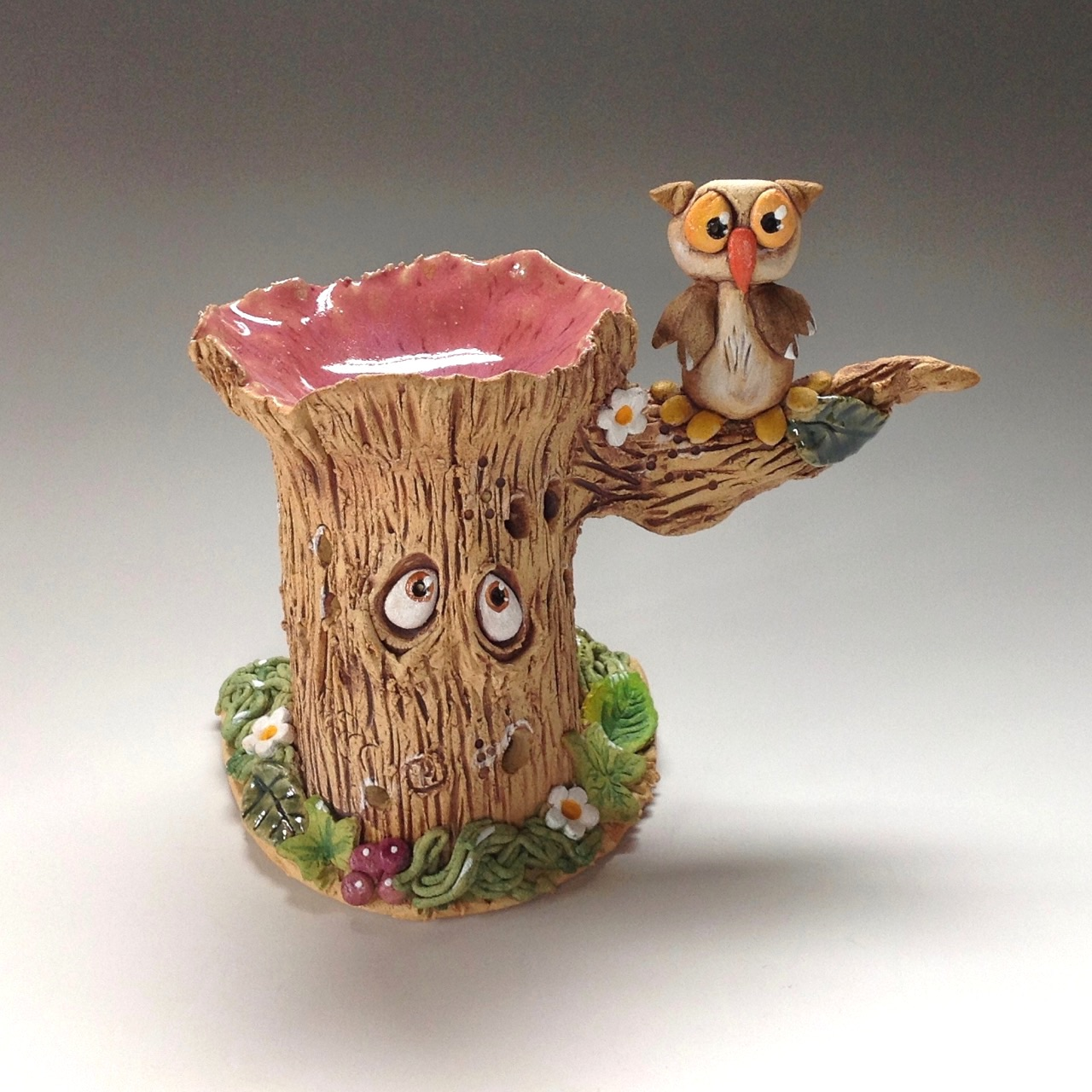 Tree Stump Oil Burner Ceramic Pottery