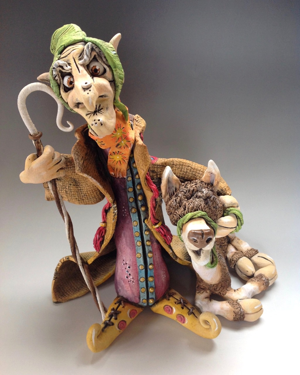 Llama Herder Sculpture Ceramic Pottery