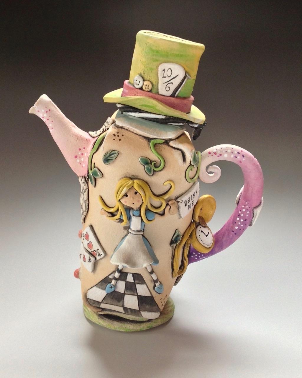 Alice in Wonderland Tea Pot Ceramic Pottery