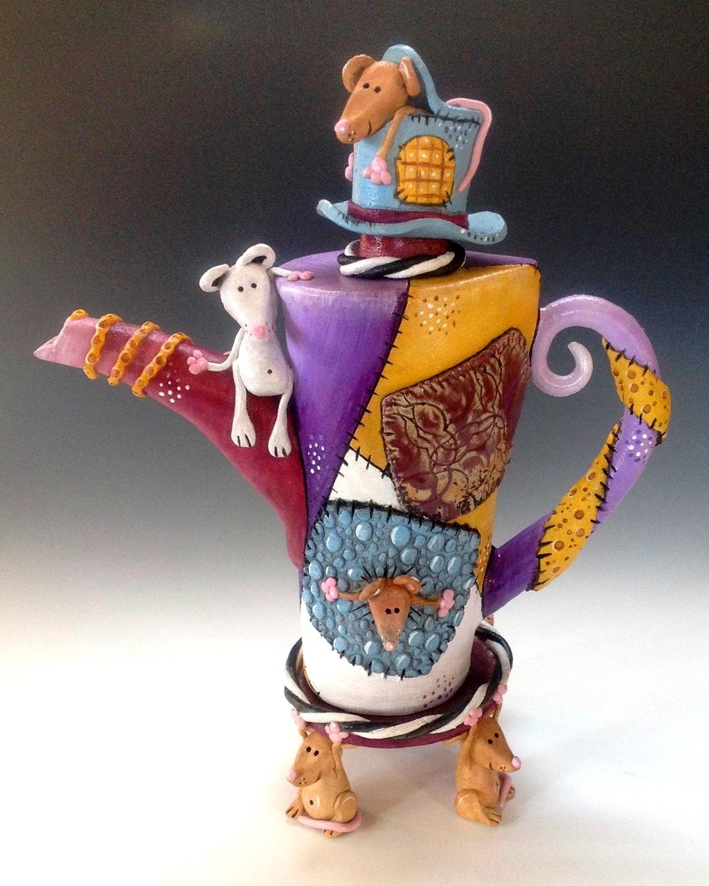 Mouse Tea Pot Ceramic Sculpture