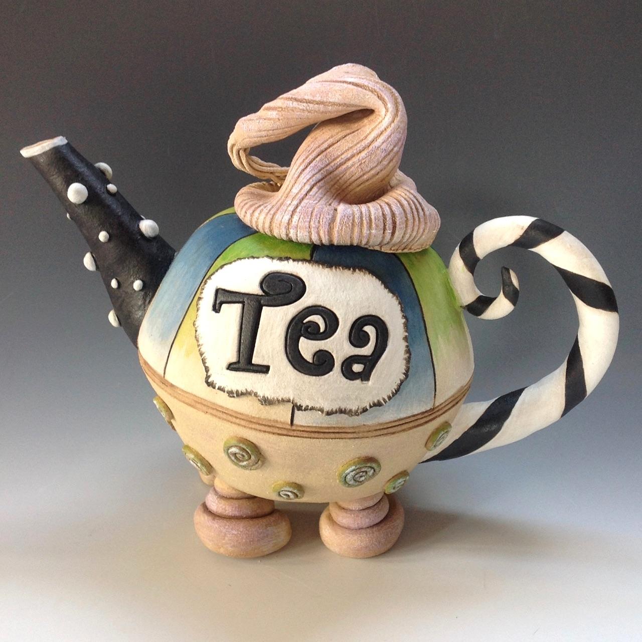 Mad Hatter Tea Pot Ceramic Pottery