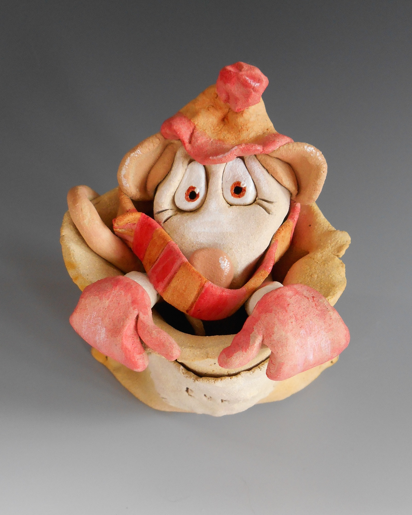 Winter Mouse Sculpture Ceramic Pottery