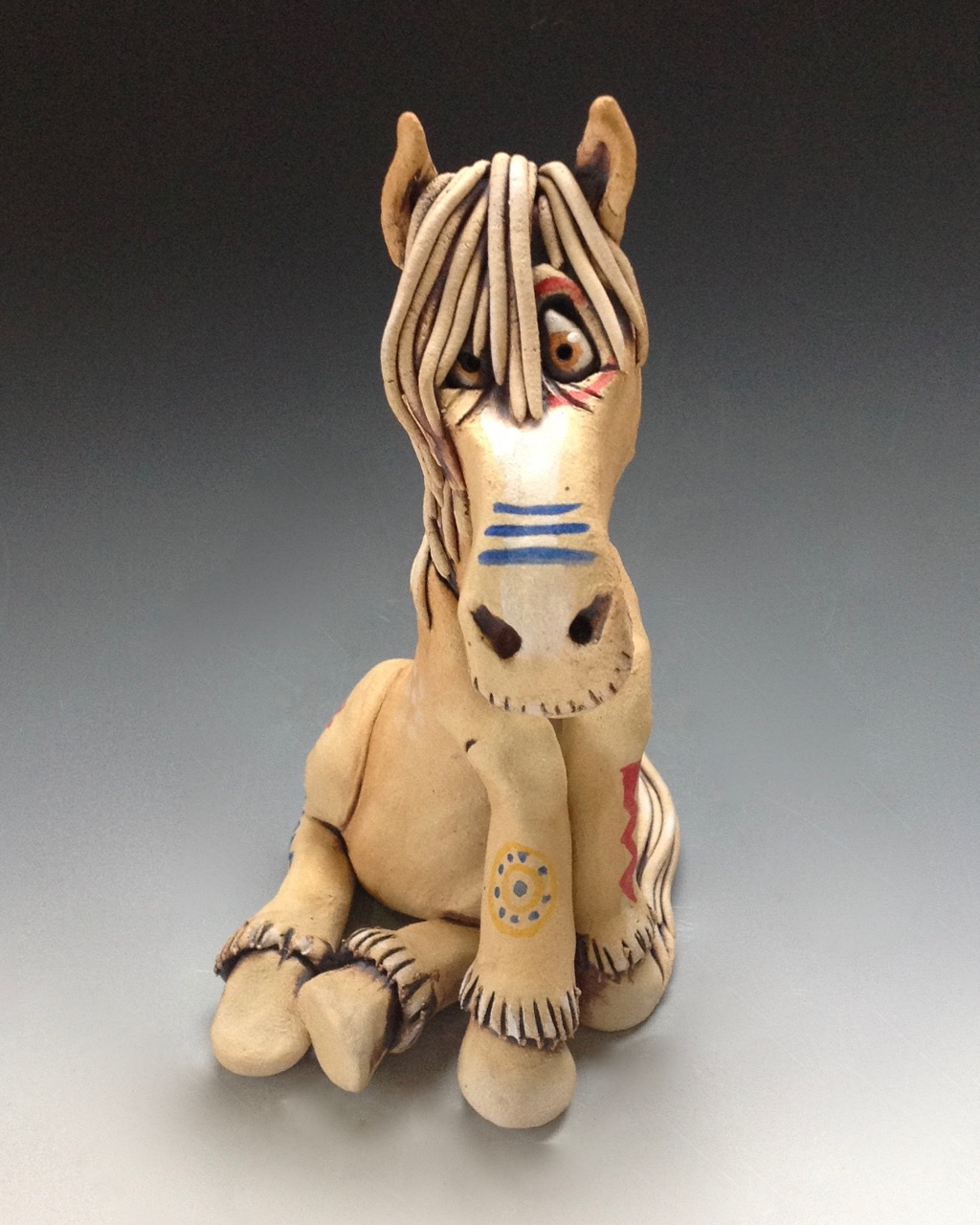 Painted American Indian Horse Sculpture Ceramic Pottery