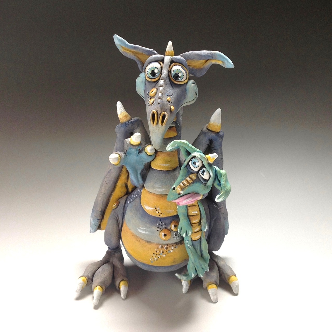 Dragon and Baby Sculpture Ceramic Pottery