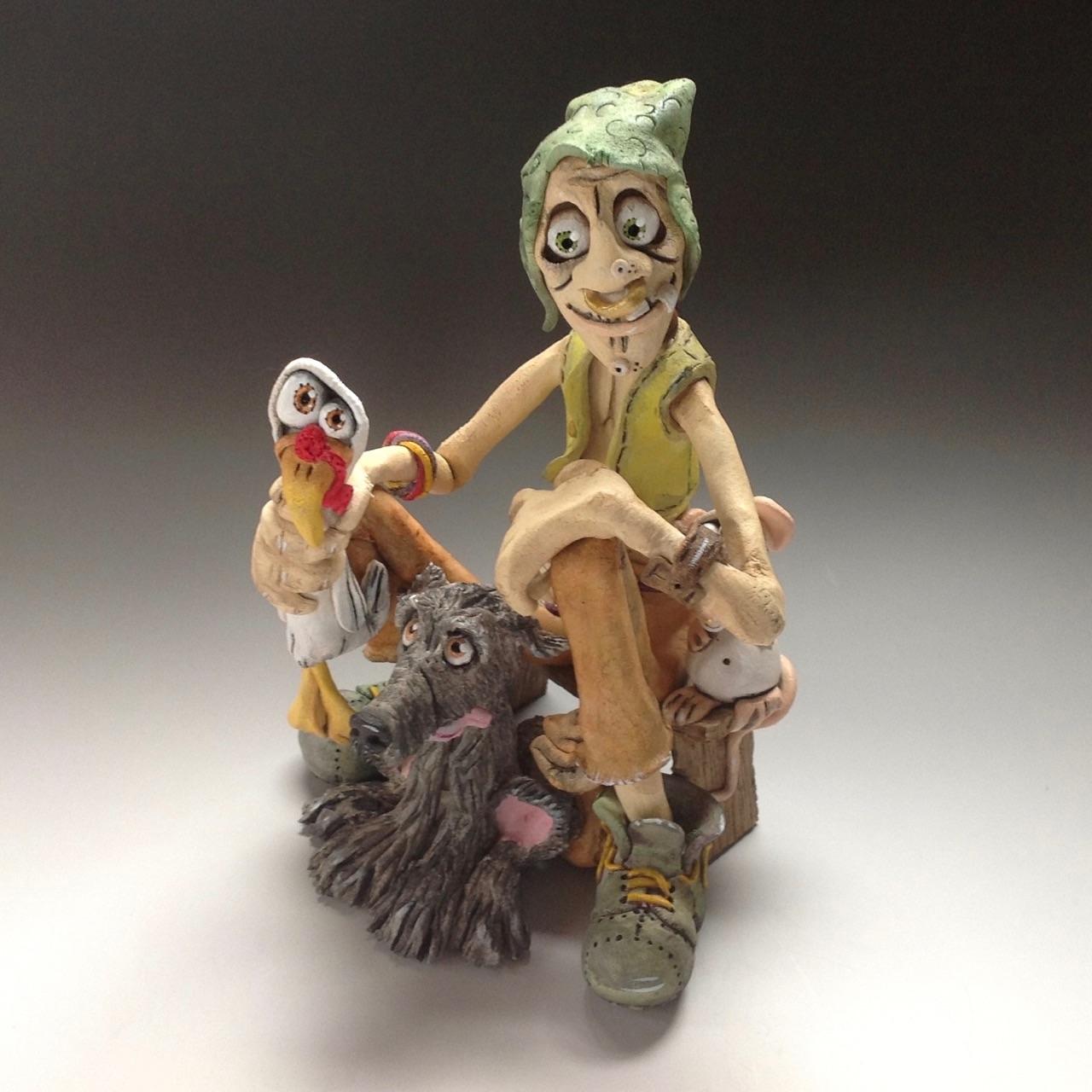Goblin Farmer Sculpture Ceramic Pottery